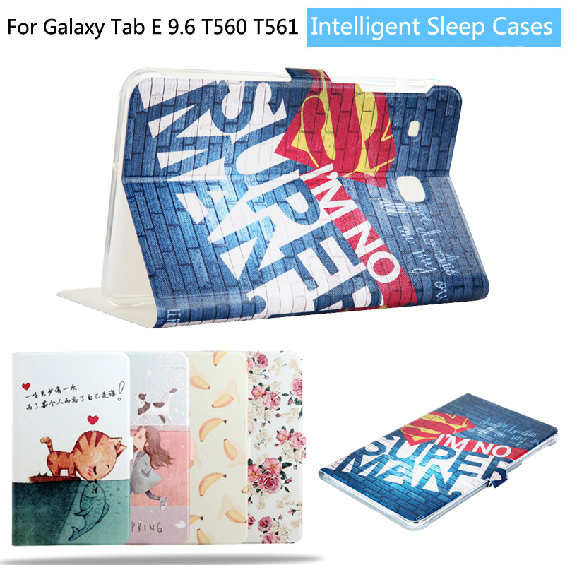 Fashion Painted Flip PU Leather For Samsung Galaxy Tab E T560 T561 9.6 inch Tablet Smart Case Cover + Gift luxury flip stand case for samsung galaxy tab 3 10 1 p5200 p5210 p5220 tablet 10 1 inch pu leather protective cover for tab3