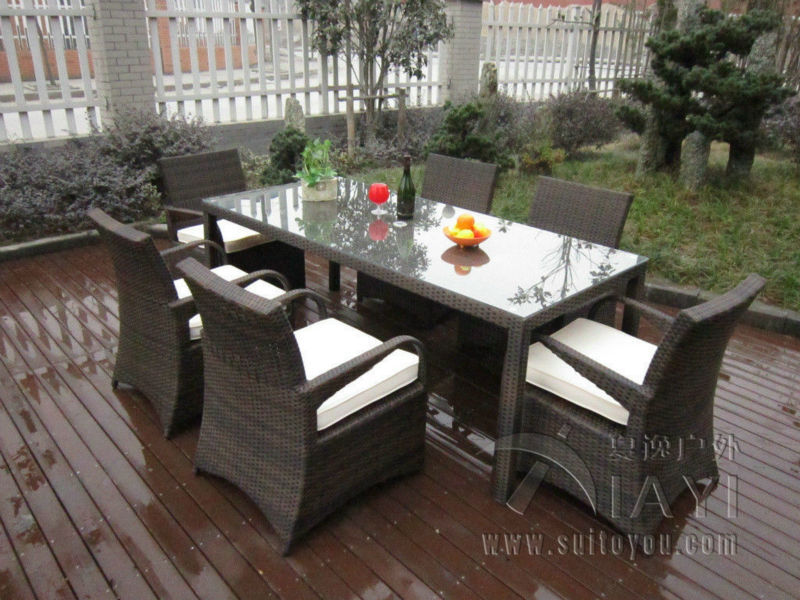 7 Pcs Rattan Garden Dining Sets Washable Resin Wicker Patio Furniture Transport By Sea