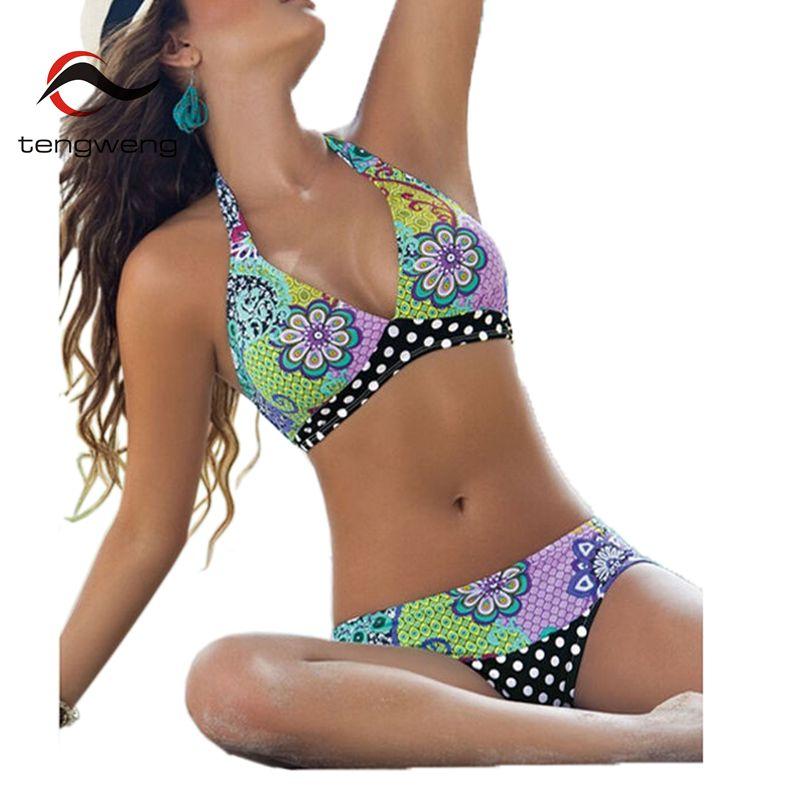 टेंगवेंग 2019 हाल्टर प्रिंट फ्लोरल अफ्रीकन स्विमवियर महिला स्विमसूट ब्राजील बिकनी दो टुकड़ा महिला स्नान सूट प्लस आकार IVL