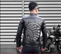2018 новые кожаные кожаная куртка для мужчин с коротким кожаная куртка с коровьей воротник с лацканами и вышитые локомотив кожа S 4XL!