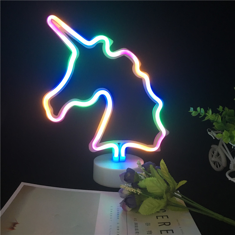 New Warm White Pink Colourful LED Unicorn Nightlight AA Battery Operated Portable Home Decoration Neon Lamp Novelty Kids Gift