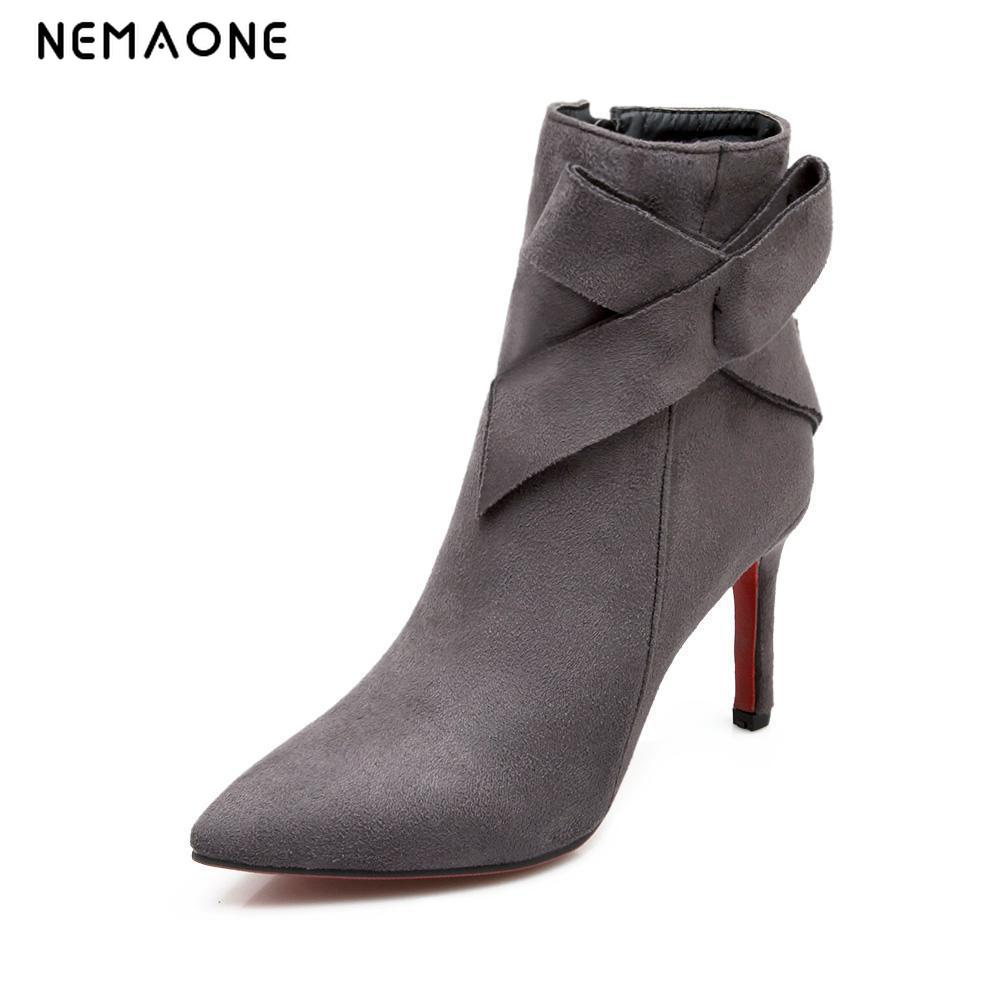 NEMAONE Spring Autumn Pointed Toe Thin Heels Flock Women Sexy High Heel Ankle Boots Big Size 34-43 Gray Black Platform Boots стоимость