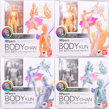 цена на 15cm SHFiguarts BODY KUN / BODY CHAN  DX SET Grey / Orange Color Ver. PVC Action Figure Collectible Model Toy