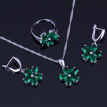 Magnificent Flower Green Cubic Zirconia 925 Sterling Silver Jewelry Sets For Women Earrings Pendant Chain Ring V0253