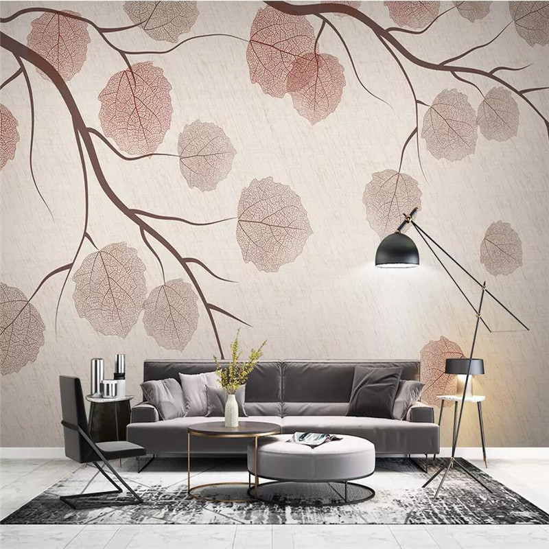 Modern minimalist twigs leaves retro TV background wall professional production mural wallpaper custom poster photo wall in Fabric Textile Wallcoverings from Home Improvement