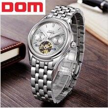 DOM Fashion Casual automatic Mechanical Watch Men Waterproof Wristwatch Complete Calendar Skeleton Watch Men Relogios Masculino