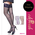 2113 Top selling super deal black stockings 2016 Ohyeah brand sexy women stockings flower lace black over kneelong stockings
