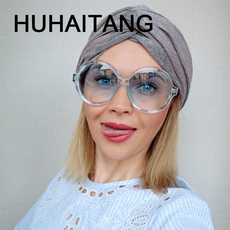 HUHAITANG Luxury Round Oversized Sunglasses Women Vintage Gradient Shades 2019 High Quality Brand Designer Sun Glasses UV400