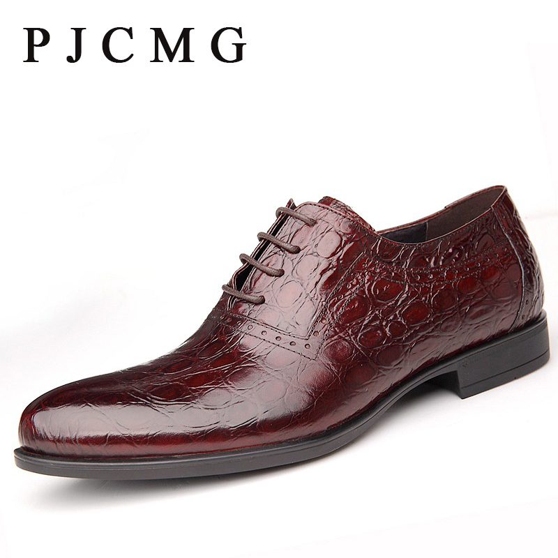 ФОТО PJCMG British Style High Quality Men Oxfords Crocodile Pattern Genuine Leather Lace-Up Wedding Dress Business Men's Flats Shoes