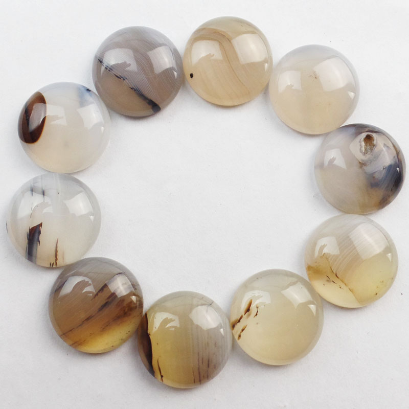 (Min.order 10$ mix) YUTENG Wholesale 10Pcs Ocean Chalcedony Round CAB CABOCHON 20x6mm HH1203(As Picture)
