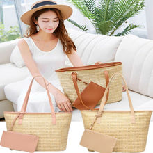 Women Straw Stylish and Convenient Bag Summer Straw plaited Beach Woven Bag Easily washable Shoulder Bag Tote Shoulder Casual leisure straw and sequins design shoulder bag for women