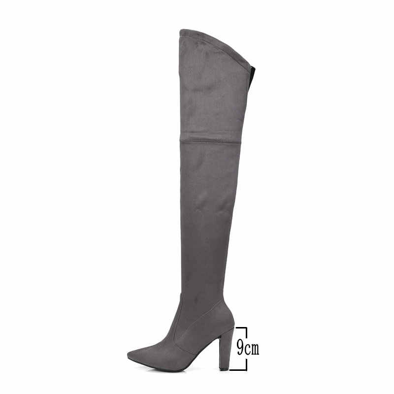 ต้นขาสูงสำหรับสุภาพสตรี Faux Suede ฤดูหนาวกว่าเข่าบู๊ทส์ Zip รองเท้าส้นสูงชี้ Toe รองเท้าผู้หญิงสีดำ Beige