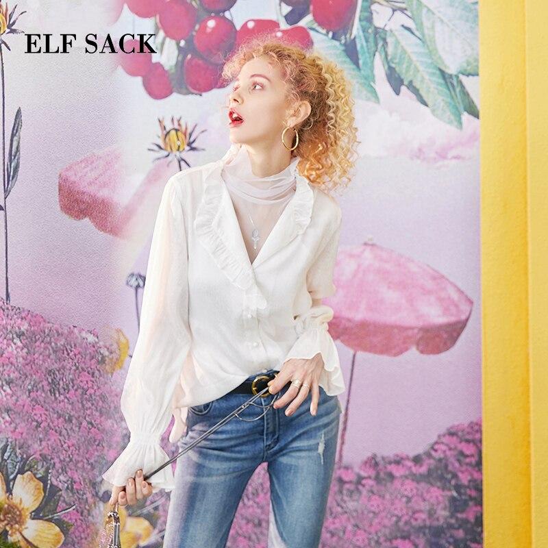 ELF SACK 2019 Summer Oversized Woman V Neck Shirts Flare Sleeve Chiffon Thin Ladies Blouse Streetwear