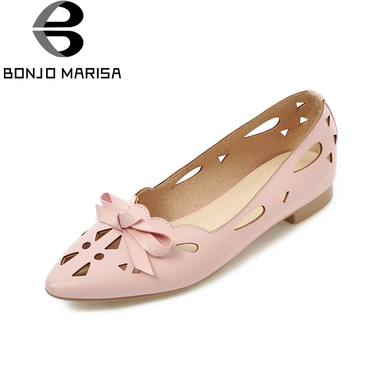 BONJOMARISA 2018 New Bowtie Woman Flat Shoes Woman Pointed Toe Shallow Large Size 31-43 Slip On Casual Woman Shoes new arrival shallow mouth round toe women flat shoes sweet lady girls bowtie metal slip on shoes cute boat shoes plus size 35 41
