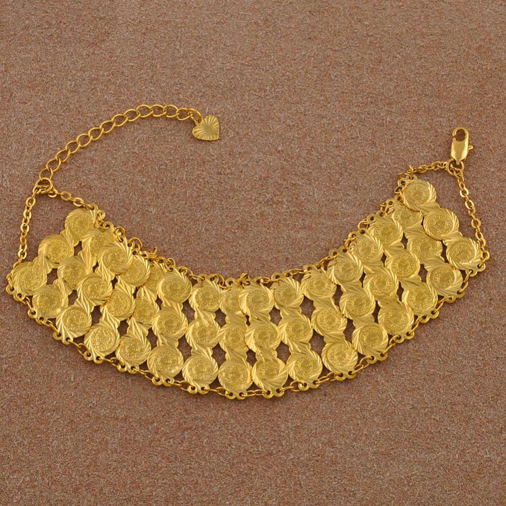 Anniyo 19CM arabska bransoletka kobiet/mężczyzn złoty kolor monety bransoletka hurtownie Islam na bliskim wschodzie łańcuch biżuteria afryki prezenty #045106