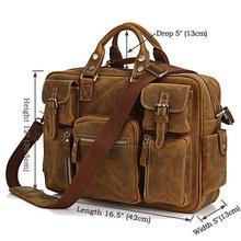 Rare Crazy Horse Leather Men's Briefcase Laptop Bag Men's Bag Fashion Travel Bag # 7028B