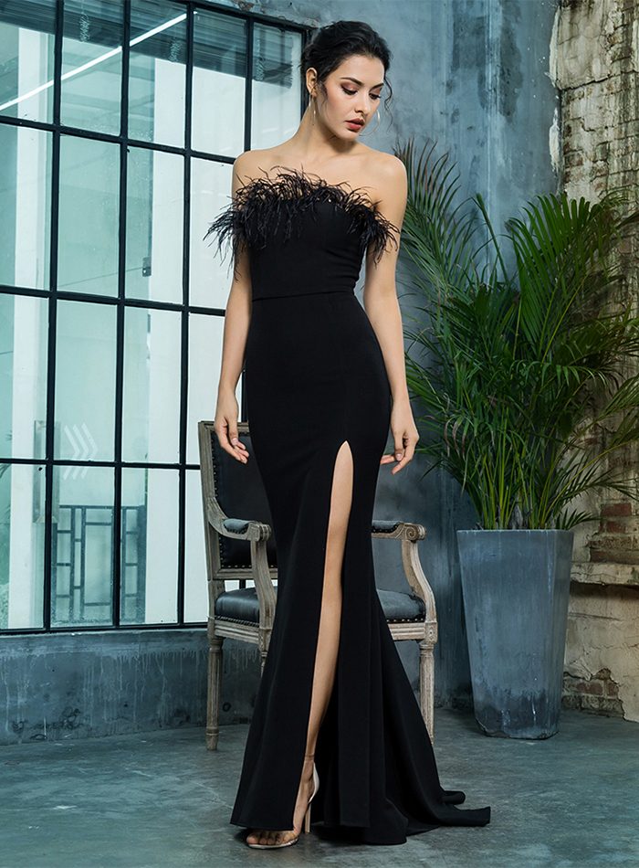 Black Strapless Cut Out Feather Long Dress 7