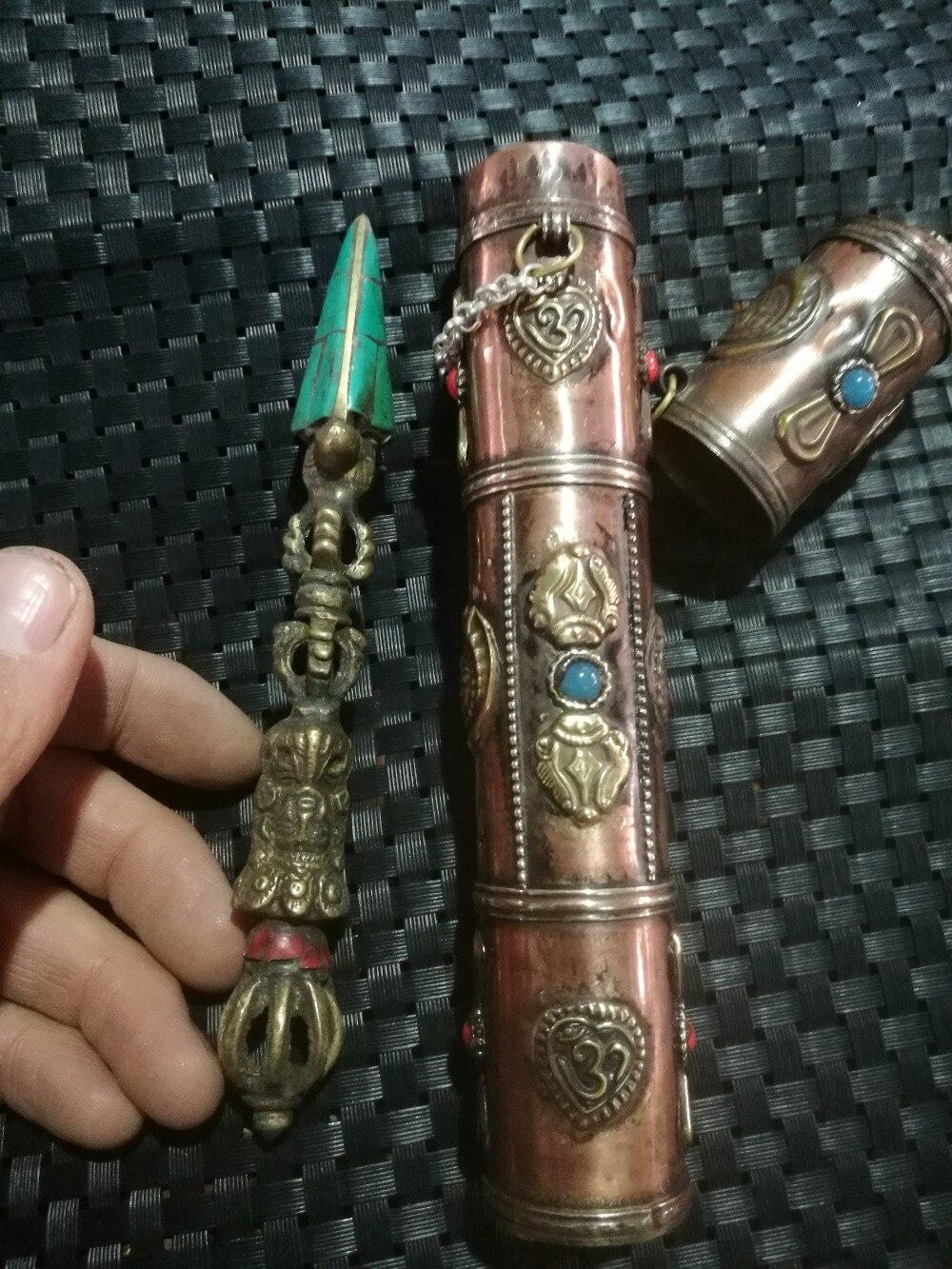 Xiangmo-chu népal incrusté à la main bouddhiste fournitures Tibet feng shui ornements et boîte en cuivre