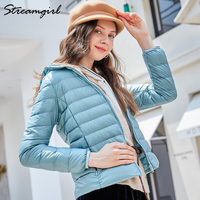 Streamgirl Ultralight Down Jacket Woman Hooded Down Coat Winter Lightweight Feather Jacket Down Jackets Women Large Size Coat