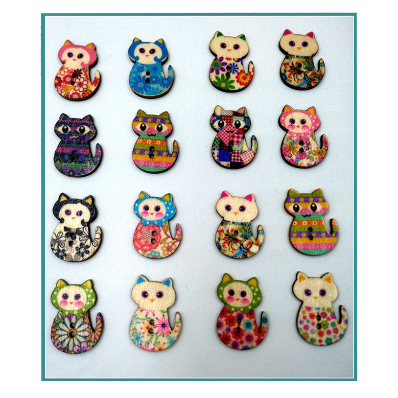 50PC Wooden Cute Cat Sewing Accessories Buttons 2 Holes Sewing Scrapbooking Crafts Sewing Accessories for Clothes Bags 40SP12 (6)