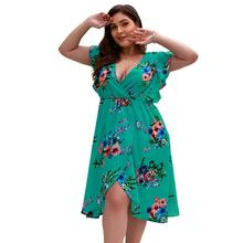 цены на Women Ladies Plus Size Holiday Summer Beach Deep V Neck Boho Floral Print Short Sleeve Mini Short Split Dress Sundress в интернет-магазинах