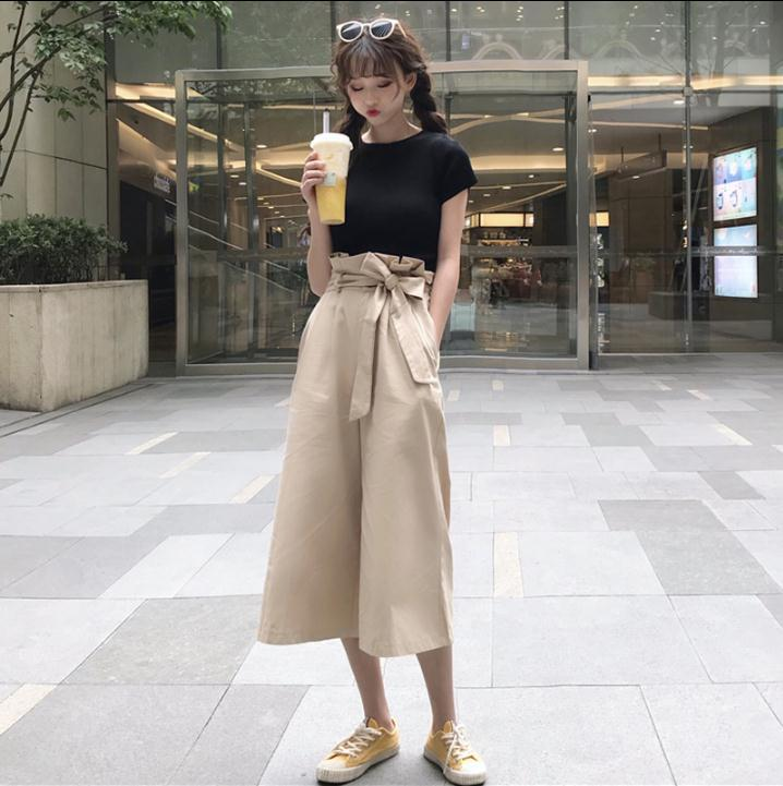 2019 New Design Women's   Wide     Leg     Pants   Female Claf-Length Cotton   Pants   With Sashes High Waist
