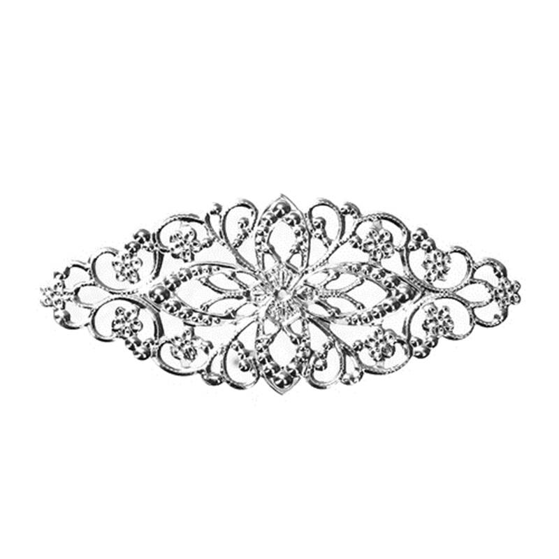 DoreenBeads Iron Based Alloy Embellishments Leaf Silver Tone Filigree Jewelry Findings 80mm(3 1/8) x 35mm(1 3/8), 4 PCsDoreenBeads Iron Based Alloy Embellishments Leaf Silver Tone Filigree Jewelry Findings 80mm(3 1/8) x 35mm(1 3/8), 4 PCs