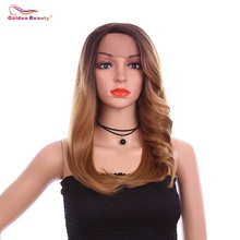 Long Straight Ombre Brown Lace Front Wig Heat Resistant Side Part