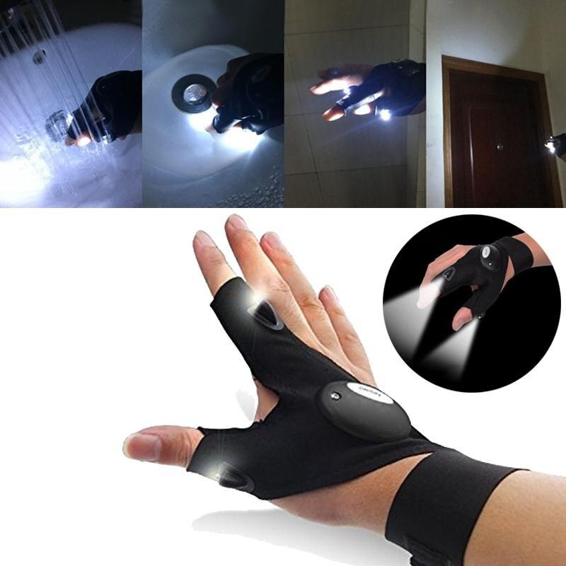 VEHEMO творческий светодиодный свет перчатки без пальцев освещение авто ремонт на открытом воздухе мигает кемпинг освещения артефакт аксессу...