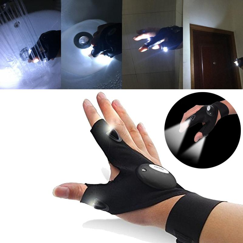 VEHEMO Creative LED Light Gloves Fingerless Lighting Auto Repair Outdoors Flashing Camping Lighting Artifact Accessories