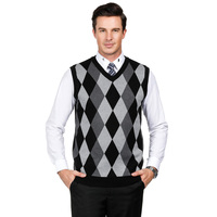 Mens Casual Knitted Tank Top Male Sleeveless V-Neck Jumper Sweater Vest Fashion Golf Pullover Argyle Wild Hot Sale