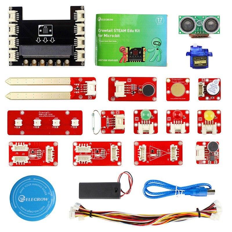 Kit de démarrage éducatif Elecrow Crowtail Steam pour Micro: Kit de programmation d'apprentissage des bits projets Microbit Makecode avec Servo 9G