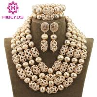 Luxury 4 Layers Gold Beaded Jewelry Accessories Fashion Dubai Arab Wedding Jewelry Set For Brides Hot
