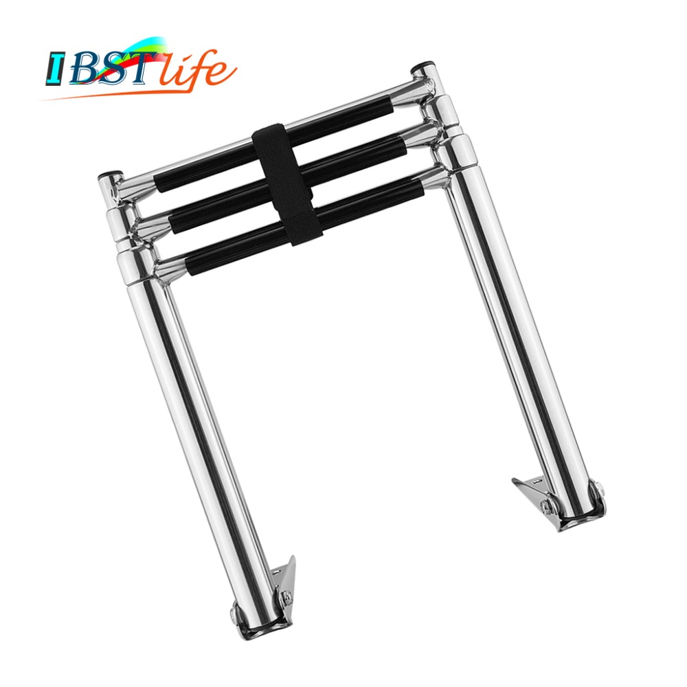 3 Steps Boat Stainless Steel 304 Telescoping Folding Ladder Deck Outboard Swim Platform Boat Marine Yacht Accessories