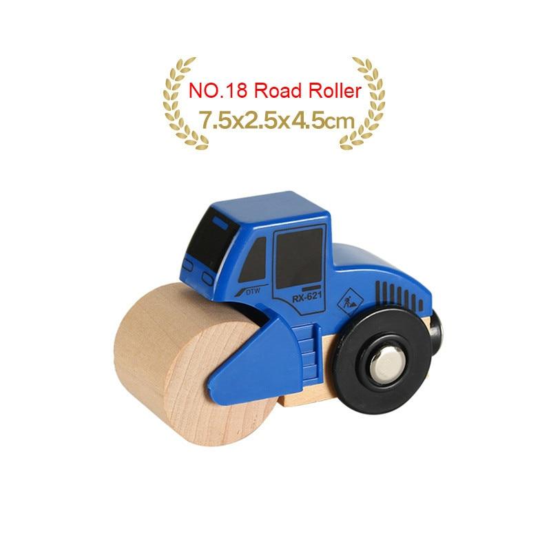 EDWONE деревянный магнитный Поезд Самолет деревянная железная дорога вертолет автомобиль грузовик аксессуары игрушка для детей подходит Дерево Biro треки подарки - Цвет: NO.18 Road Roller