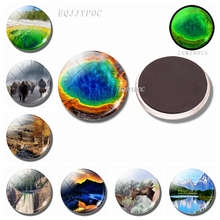 Luminous 30MM Magnet Fridge Yellowstone National Park Decoration Refrigerator Glass Dome Landscape Magnetic Stickers for