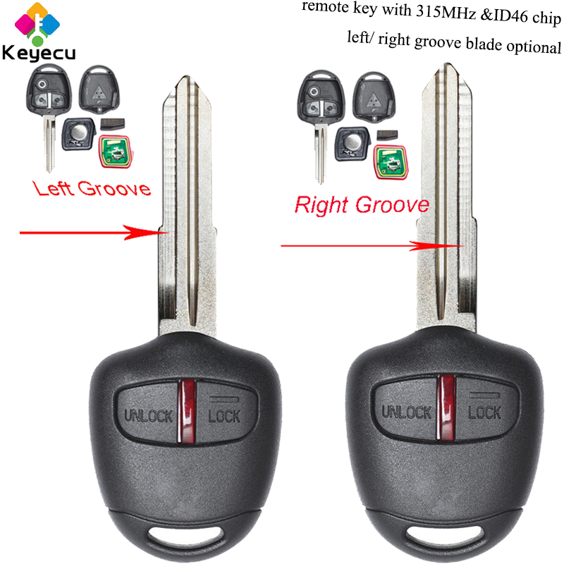 KEYECU <font><b>Replacement</b></font> Remote Car <font><b>Key</b></font> - 2 Buttons & 315MHz & ID46 Chip & Left/ Right Blade - FOB for <font><b>Mitsubishi</b></font> Lancer Outlander image