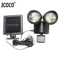 Icoco 22led 듀얼 보안 탐지기 태양 광 스포트 라이트 모션 센서 투광 조명 야외 벽 조명 정원 풍경|LED 야외용 벽 램프|   -