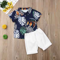 Fashion Summer Toddler Baby Kids Boy Tops T-shirt Short Pants Outfit Set Clothes