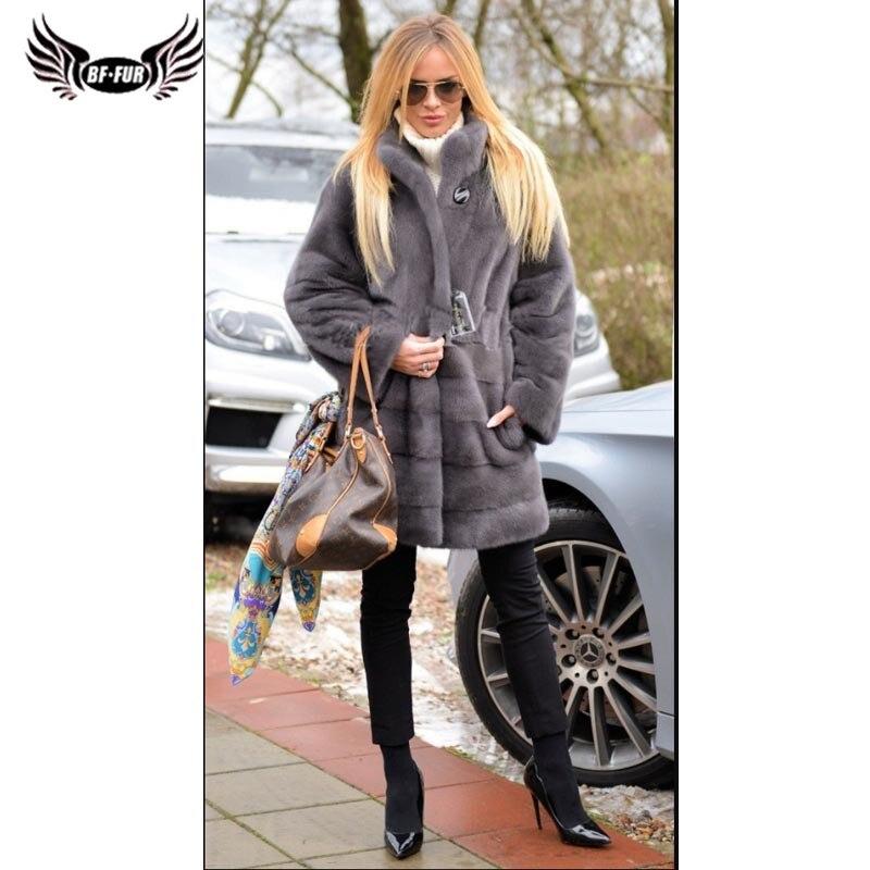 BFFUR 2019 New Arrival Women Jacket Winter Leather Coat Real Mink Fur Outerwear Ladies Streetwear Solid Gothic Genuine Fur Coats