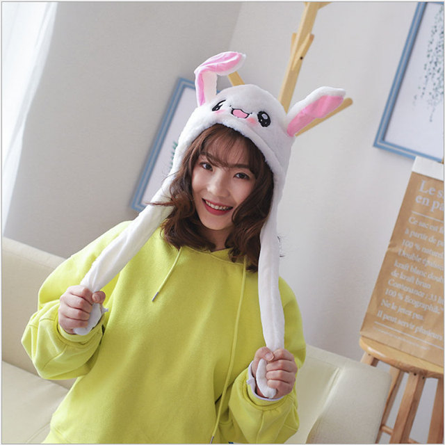 YunNasi 55cm DouYin Plush Kawaii Hat Moving Ears Rabbit Hat Character Animal Toys For Children Cosplay Toys Girl Birthday Hoodie