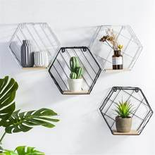 Wood Iron Art Hexagon Nordic Modern Style Storage Rack Wall Hanging Type Home Organizer Shelf Holder Home Decoration Tool(China)