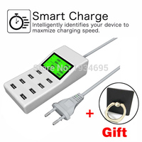 8 USB Ports US EU UK Multi Charger With Lcd Screen Travel Smart Charger For Huawei