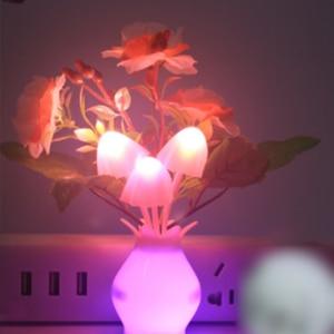 Image 3 - الولايات المتحدة رومانسية LED ضوء الليل الاستشعار المكونات في الجدار مصباح إضاءة المنزل الفطر الفطر ضوء ملون