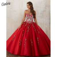 Embroidery Red Quinceanera Dresses 2019 Beadings Crystal Tulle Dresses 15 year old Debutante Sweetheart neck Vestidos De 15 Anos