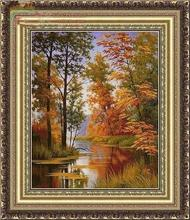 Autumn woods River Scenery Needlework,DMC Cross stitch,14CT Counted Sets Embroidery kits Art Cross-Stitching,DIY Handmade Decor