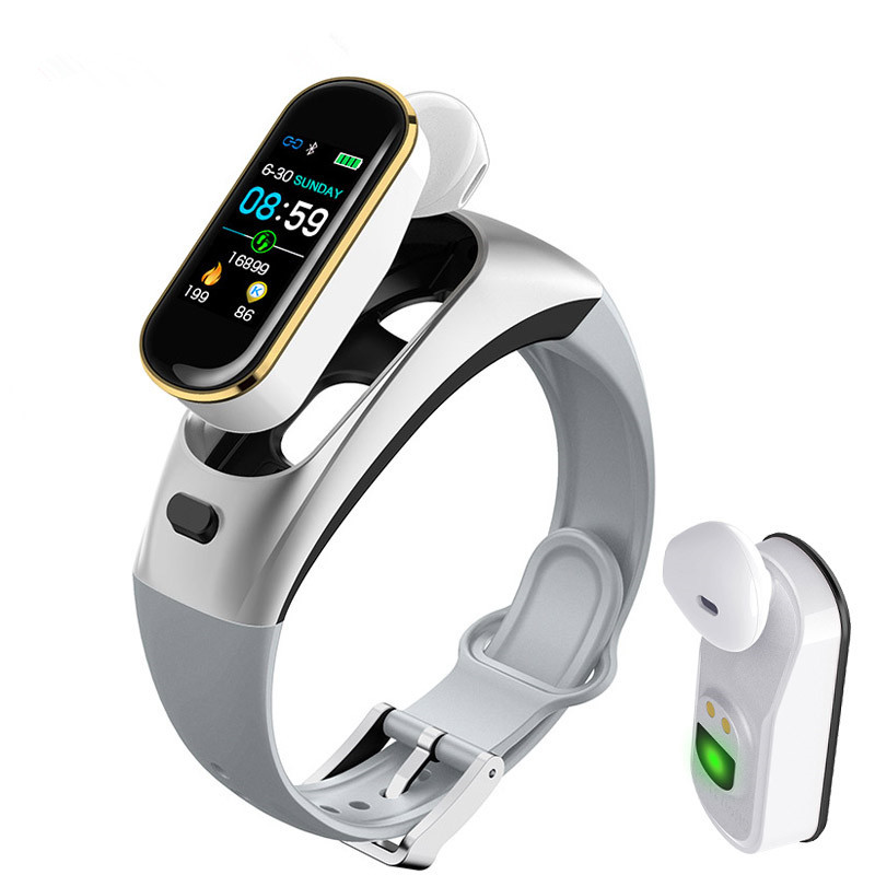 H109 2 in 1 Sports Smart Watch Bluetooth Wireless Earphones Heart Rate Blood Pressure Call Reminder