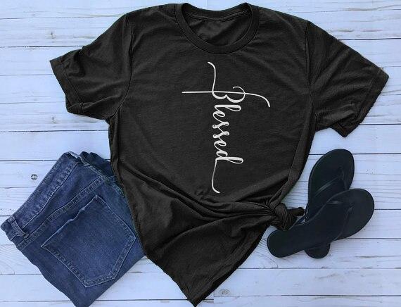 9f507e7b Blessed Cross t shirt Women Funny Religious tshirt Female Fashion Clothes  tees o-neck jesus