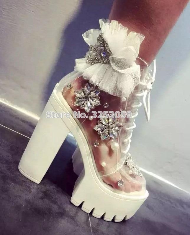 цена Luxury Platform Wedding Shoes Chunky High Heel White Lace Mesh Floral Sandal Boots Bling Bing Crystal Beaded Ruffle Ankle Boots в интернет-магазинах