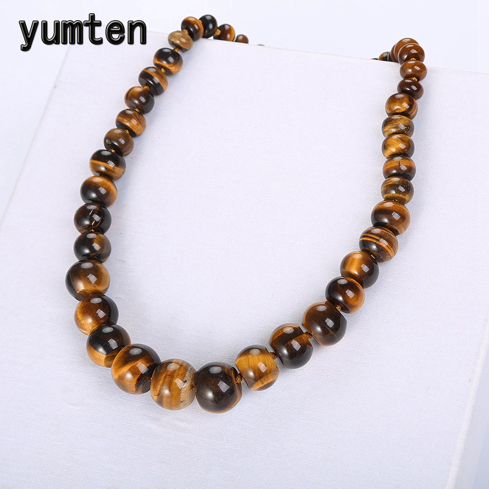 Yumten Natural Tiger Eye Stone Statement Coin Necklace Male Crystal Choker Charm Beads Chain Chunky Vintage Fashion Men Jewelry vintage tribal jewelry natural yak bone carving totem beaded strand choker chunky statement bib necklace for women men
